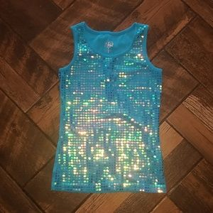 Justice blue  iridescent sparkly tank top